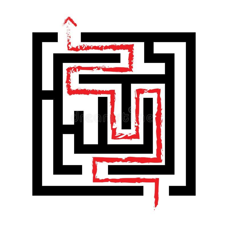 Labyrinthe résolu, flèche rouge, 2d illustration libre de droits