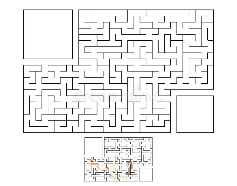 Labyrinthe rectangulaire abstrait Jeu pour des gosses Puzzle pour des enfants Énigme de labyrinthe Illustration plate de vecteur  illustration libre de droits
