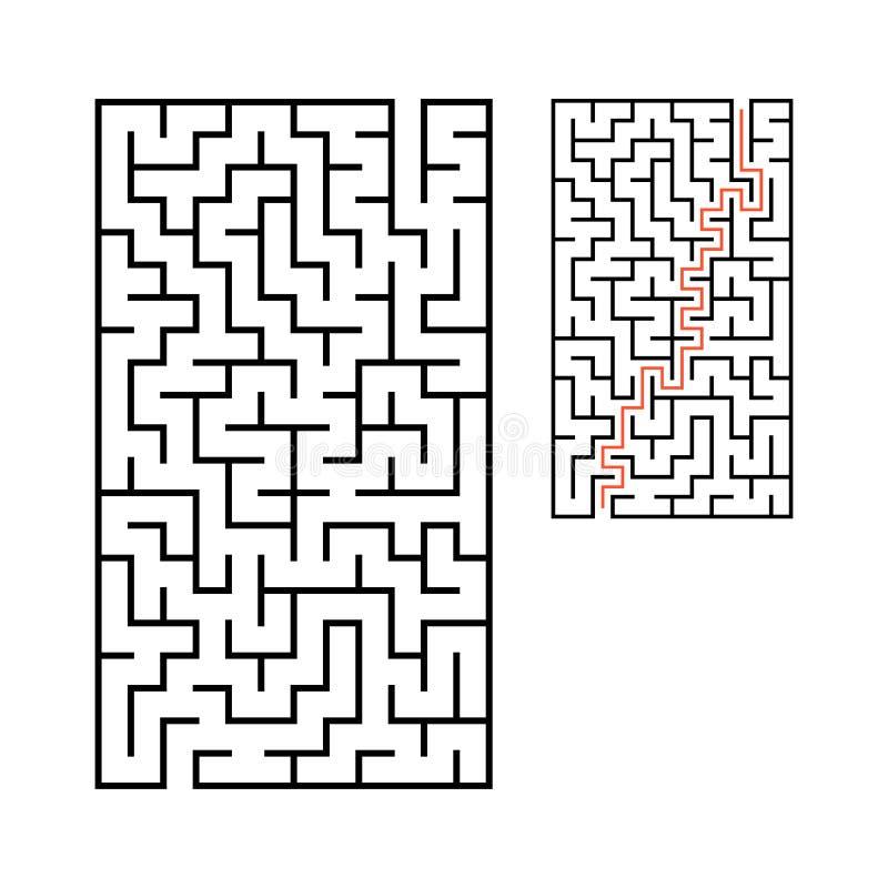 Labyrinthe rectangulaire abstrait Jeu pour des gosses Puzzle pour des enfants Une entrée, une sortie Énigme de labyrinthe Vecteur illustration stock