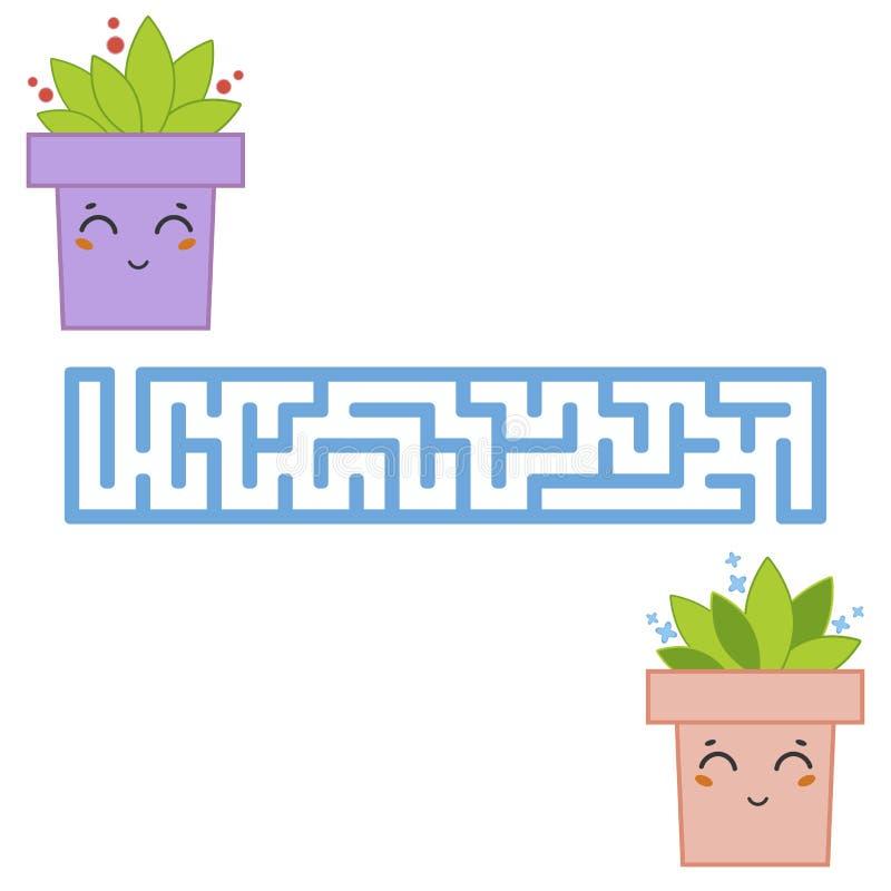 Labyrinthe rectangulaire abstrait Un jeu intéressant et utile pour des enfants Trouvez le chemin de la fleur à la fleur F simple illustration libre de droits