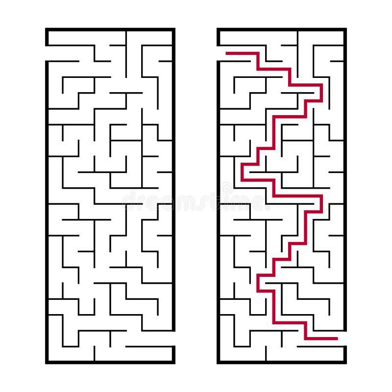 Labyrinthe rectangulaire noir avec une entrée et une sortie Un jeu intéressant et utile pour des enfants Illustratio plat simple  illustration stock