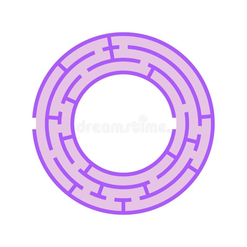 Labyrinthe rond abstrait Jeu pour des gosses Puzzle pour des enfants Une entrée, une sortie Énigme de labyrinthe OIN plate d'illu illustration libre de droits