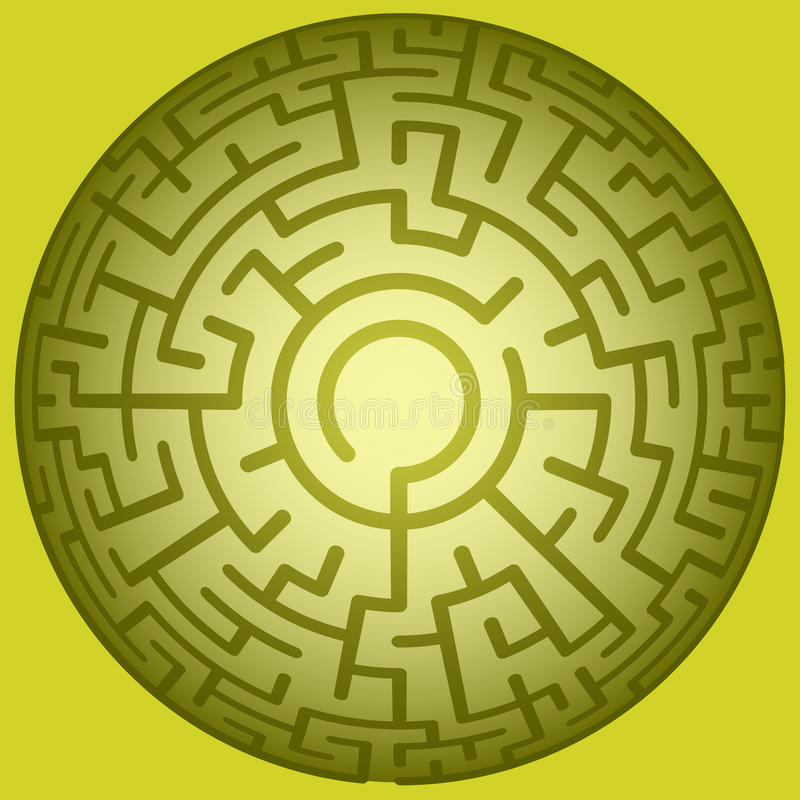 Labyrinthe rond convexe illustration stock
