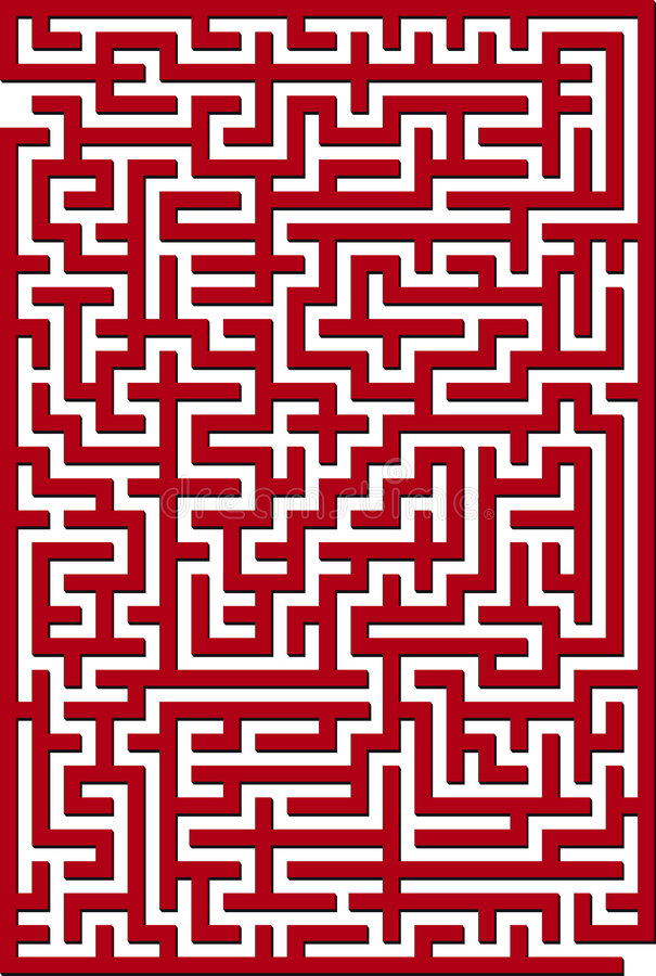 Labyrinthe rouge illustration stock