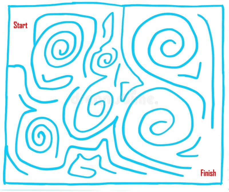 Labyrinthe tiré par la main numéro six, très facile, cyan illustration stock