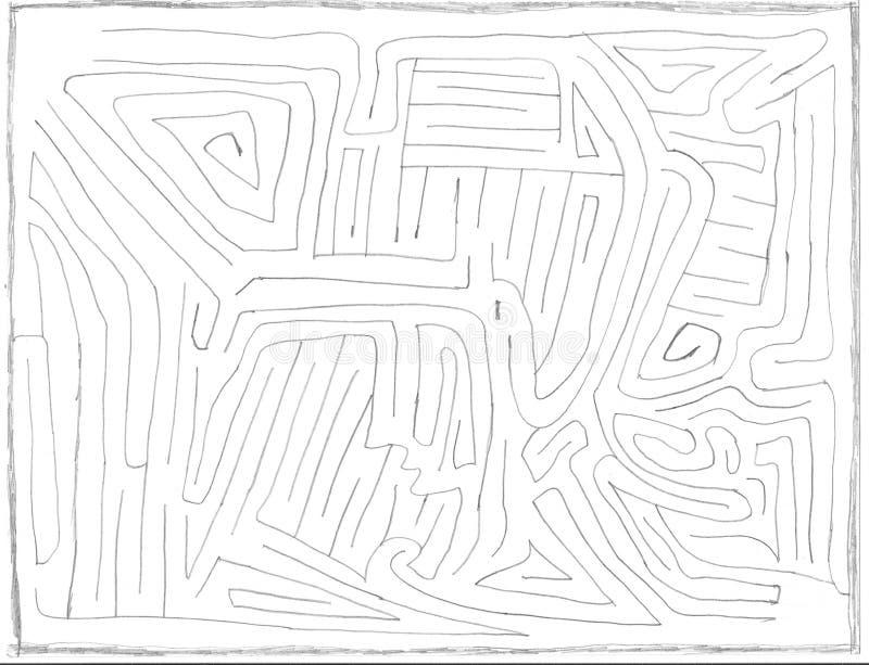 Labyrinthe tiré par la main numéro un, niveau facile illustration libre de droits