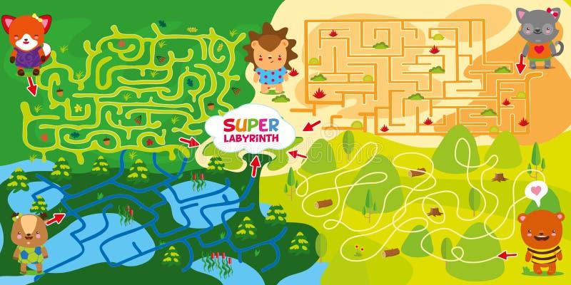 4 labyrinthes Ours et chat de renard de cerfs communs d'aide à passer par le labyrinthe et à se réunir au centre avec le hérisson illustration libre de droits