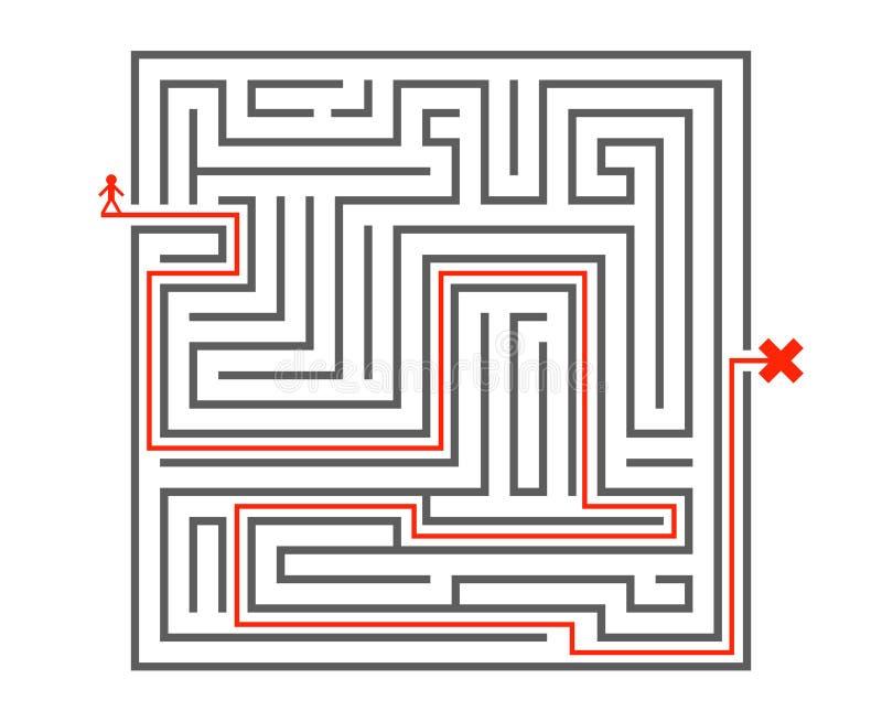 Labyrinthhintergrunddesignschablonen-Vektorillustration des Manndurchlaufweisenkompliziertheitslabyrinths isometrische stock abbildung