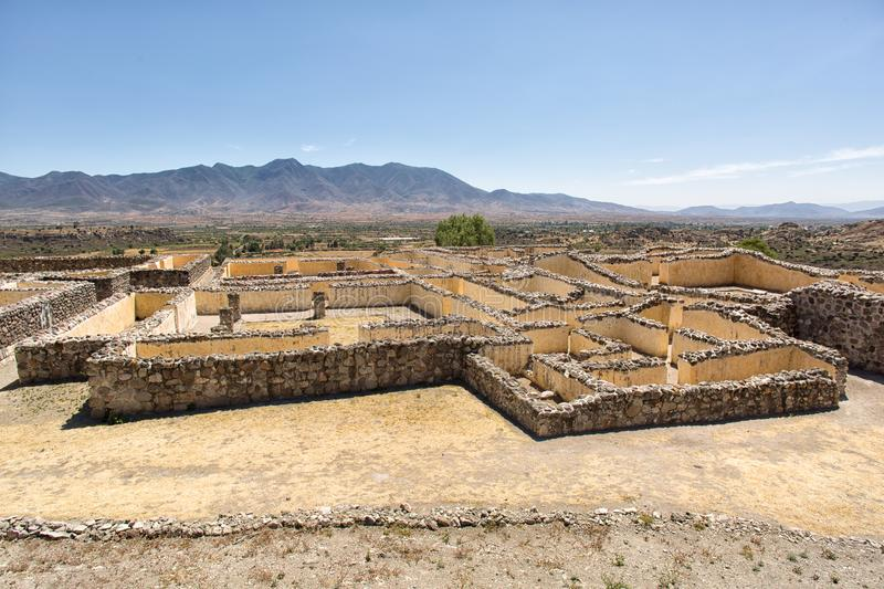 Walls of Yagul ruins in Oaxaca MExico royalty free stock images