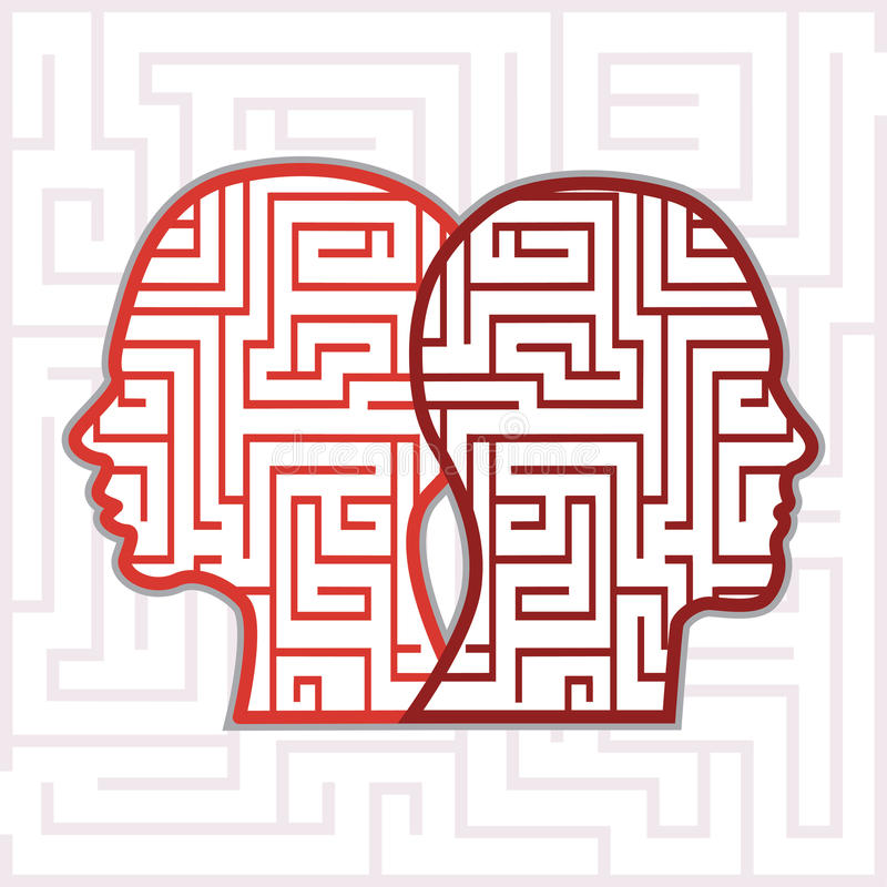 Labyrinthköpfe lizenzfreie abbildung