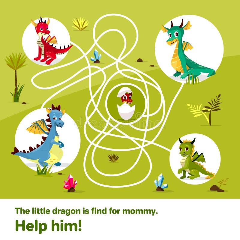 Labyrinthlabyrinthkinderspielvektor-Karikaturillustration von Drachen helfen, Weise zum Kinderei auf verwirrter Weise zu finden stock abbildung