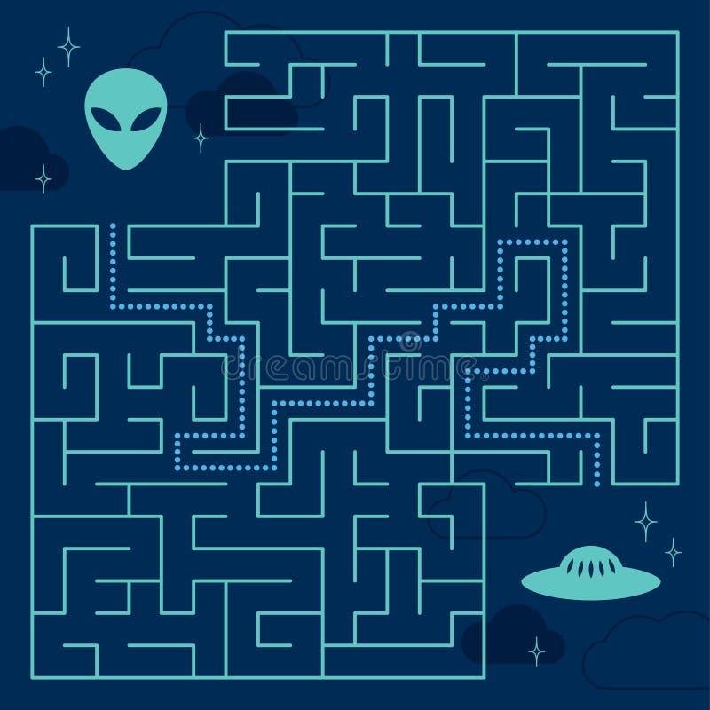 Labyrinthlabyrinthspiel mit Lösung Hilfsausländer vektor abbildung