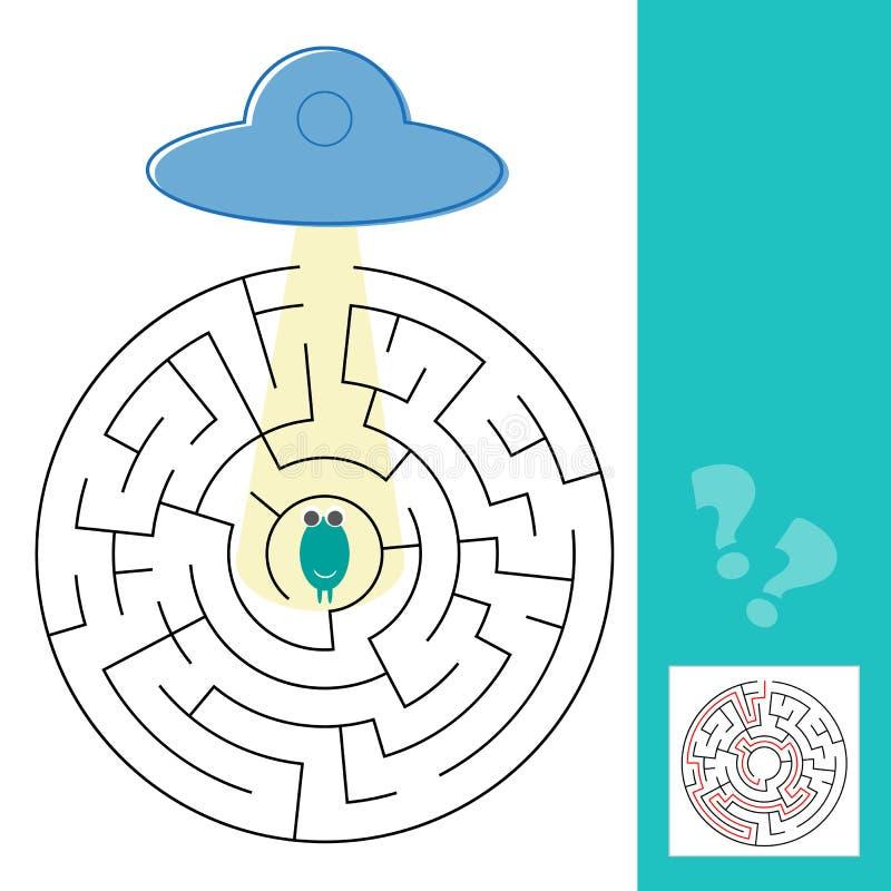 Labyrinthlabyrinthspiel mit Lösung Hilfsausländer, zum des Weges zu UFO zu finden stock abbildung