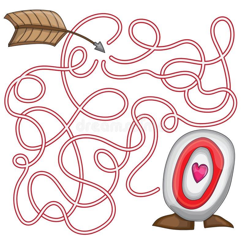 Labyrinthrätselspiel für St. Valentine Day stock abbildung