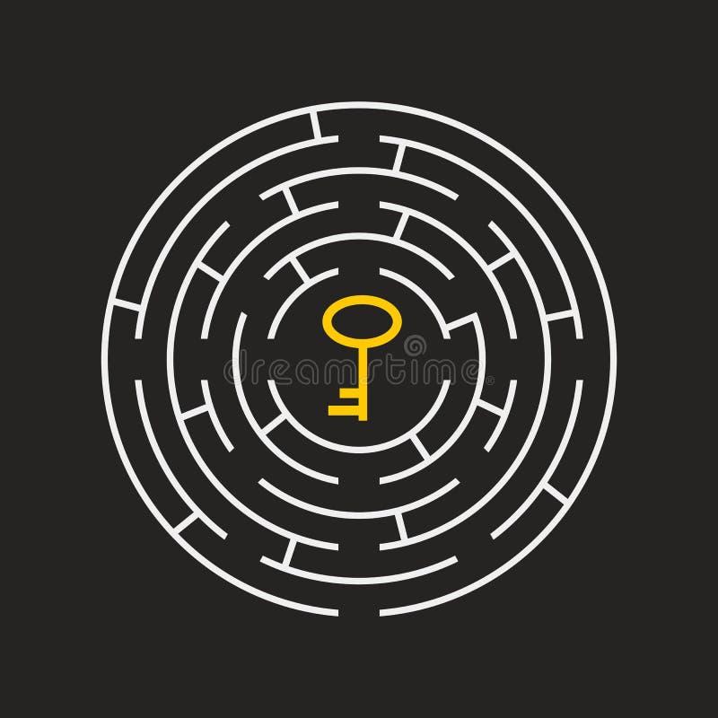Labyrinthrundschreibeninneres Schlüsselpuzzlespiel dunkelgrau stock abbildung