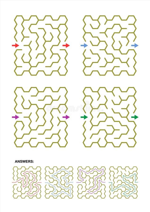 Labyrinthschablonen für Ihre Designe und Projekte vektor abbildung