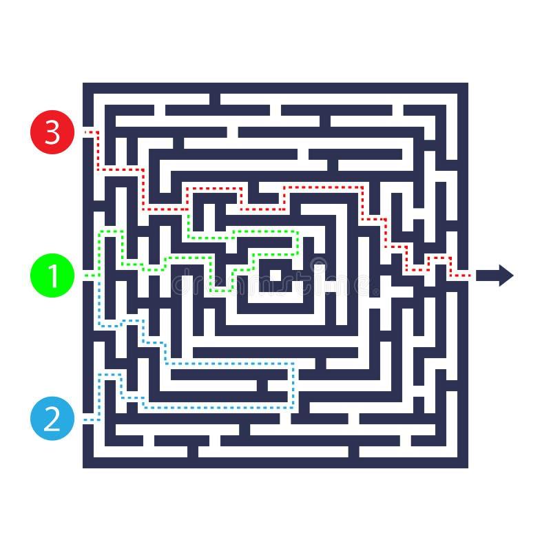 Labyrinthspiel Drei Eingang, ein Ausgang und ein richtiger Weg zu gehen Aber viele Wege zum zum Stillstand zu kommen Auch im core lizenzfreie abbildung
