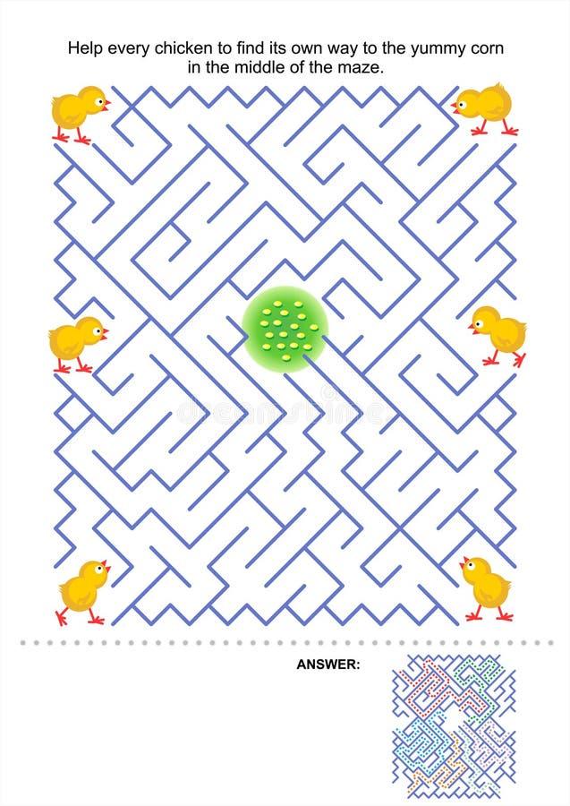 Labyrinthspiel für Kinder lizenzfreie abbildung