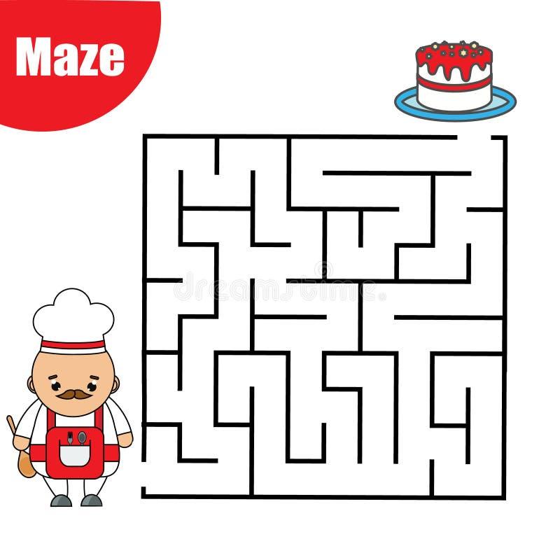 Labyrinthspiel für Kinder Helfen Sie Koch, Labyrinth durchzulaufen Spaßseite für Kleinkinder und Kinder stock abbildung