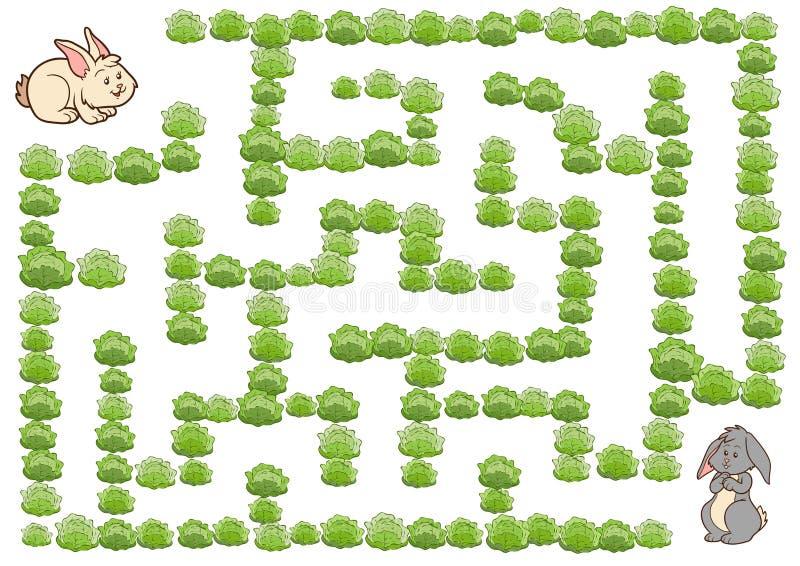 Labyrinthspiel für Kinder, Kaninchen lizenzfreie abbildung