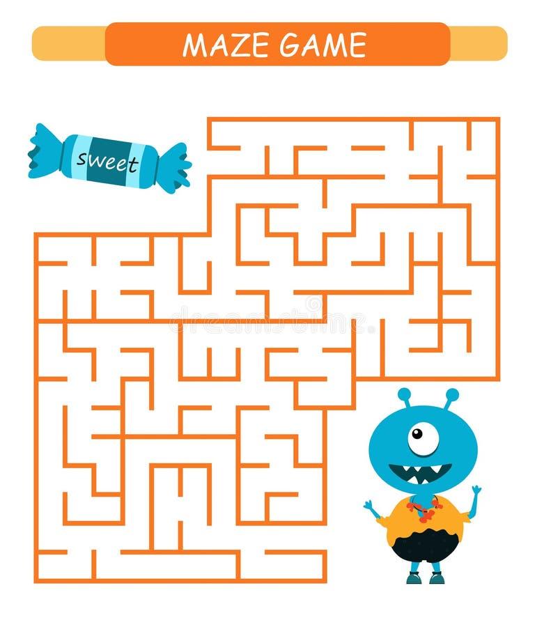 Labyrinthspiel f?r Kinder Helfen Sie dem Monster, den Ausgang zu finden stock abbildung