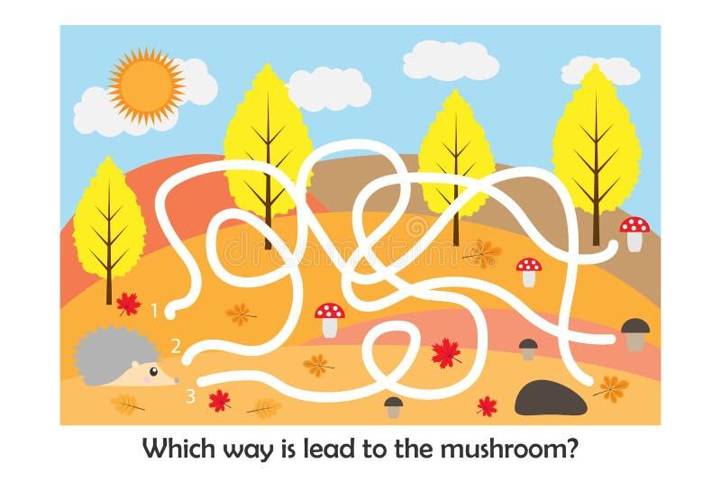 Labyrinthspiel, helfen dem Igelen, eine Weise zum Pilz, nette Zeichentrickfilm-Figur, Vorschularbeitsblattlabyrinthtätigkeit zu f vektor abbildung