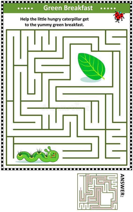 Labyrinthspiel mit Gleiskettenfahrzeug und grünem Blatt lizenzfreie abbildung