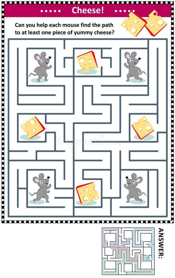 Labyrinthspiel mit Mäusen und Käse stock abbildung