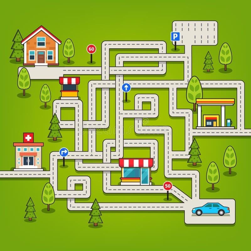 Labyrinthspiel mit Straßen, Auto, Haus, Baum, Tankstelle vektor abbildung