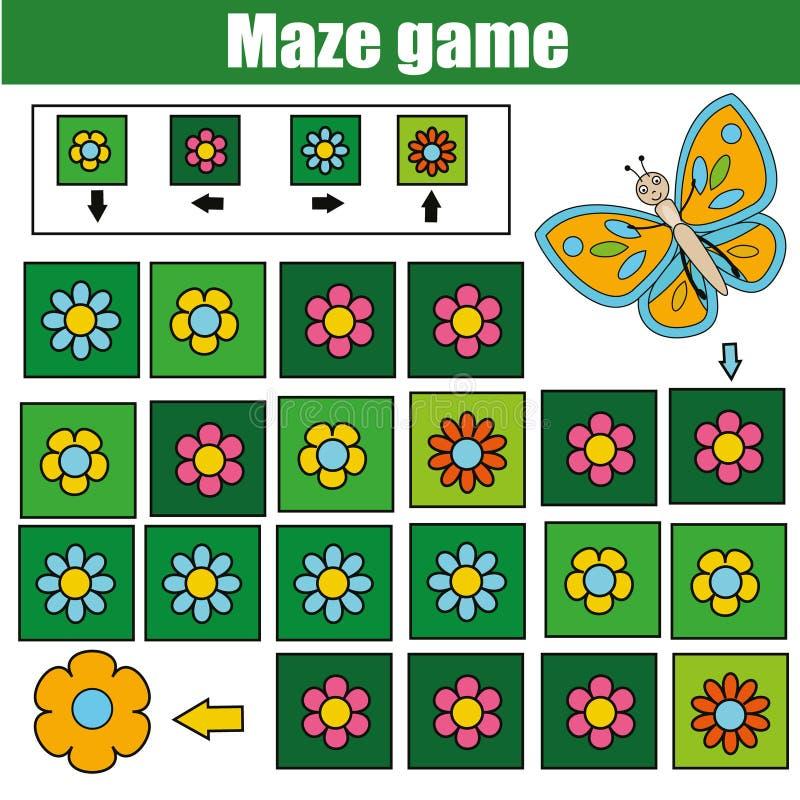 Labyrinthspiel, Tierthema Scherzt Tätigkeitsblatt Logiklabyrinth mit Codenavigation lizenzfreie abbildung