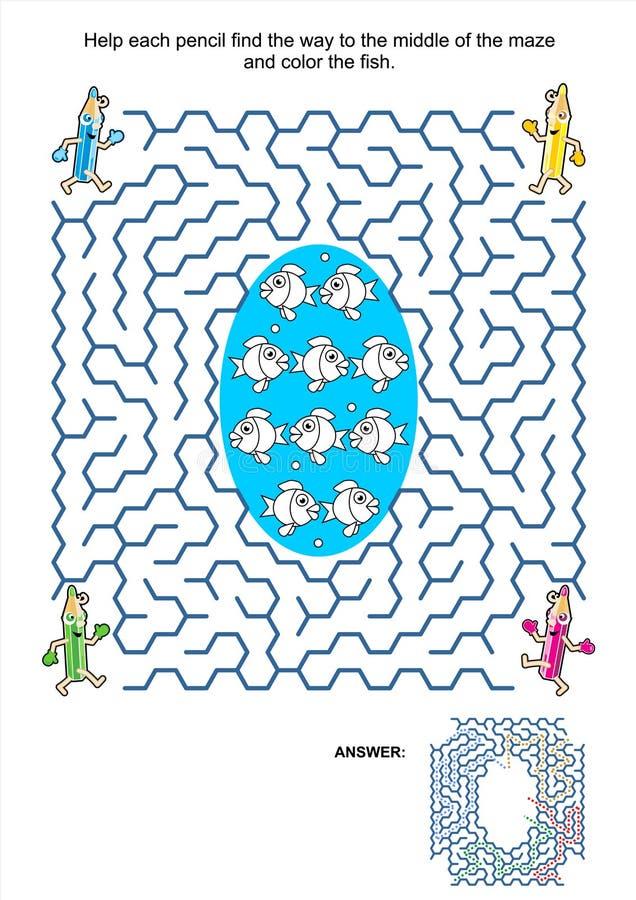 Labyrinthspiel und Farbtonseite - Bleistifte und Fische lizenzfreie abbildung
