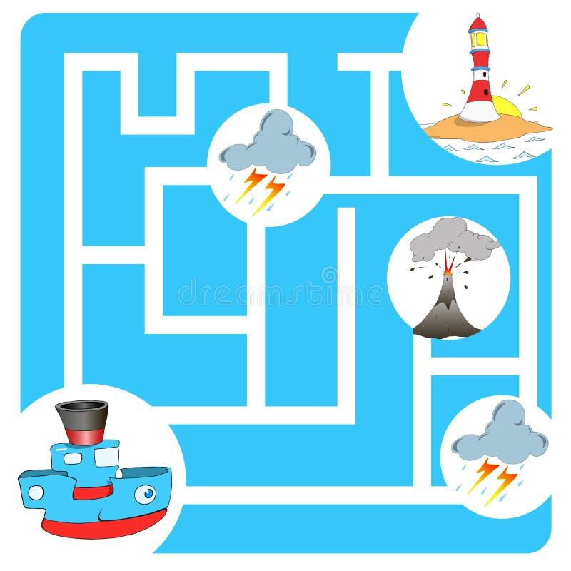Labyrinthspielboot und -leuchtturm stockbilder