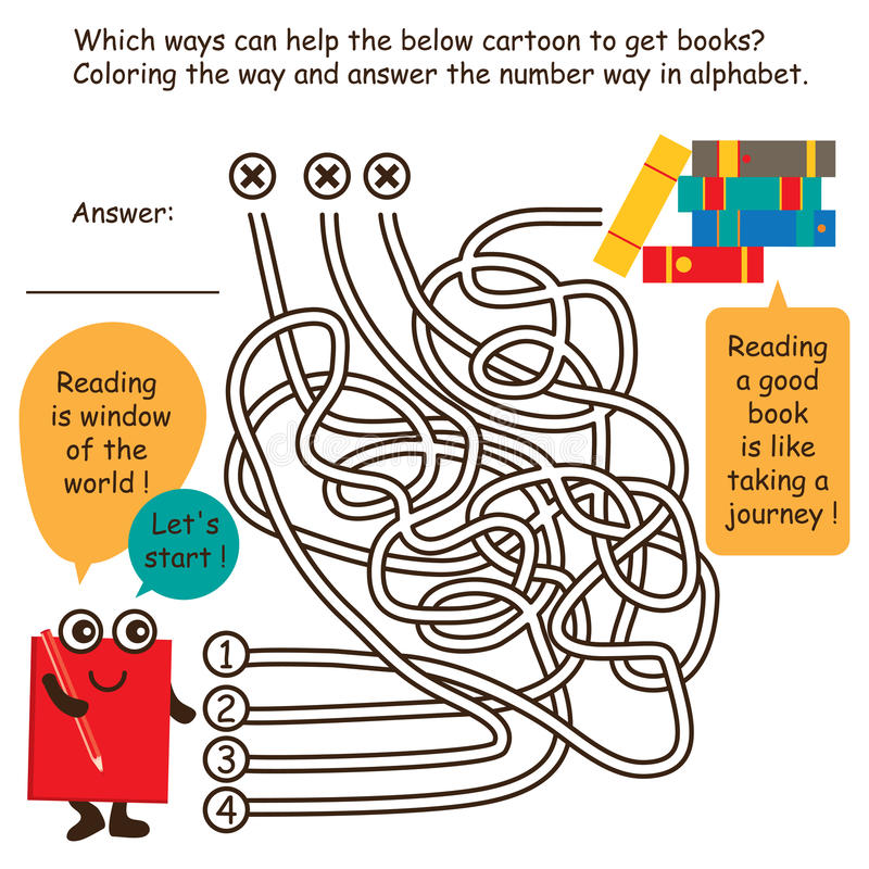 Labyrinthspiellinie Karikaturentdeckungsbücher stock abbildung
