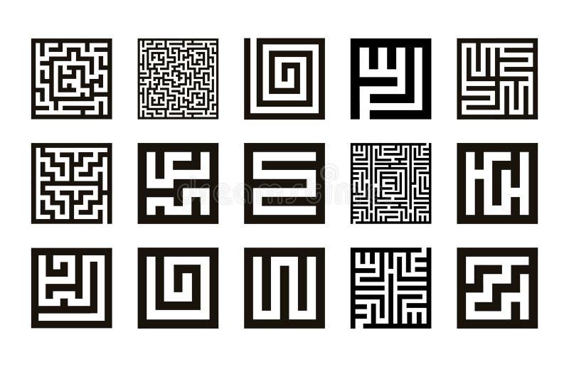 Labyrinthsymbolsammlung Labyrinthikonen-Satzvektor lizenzfreie abbildung