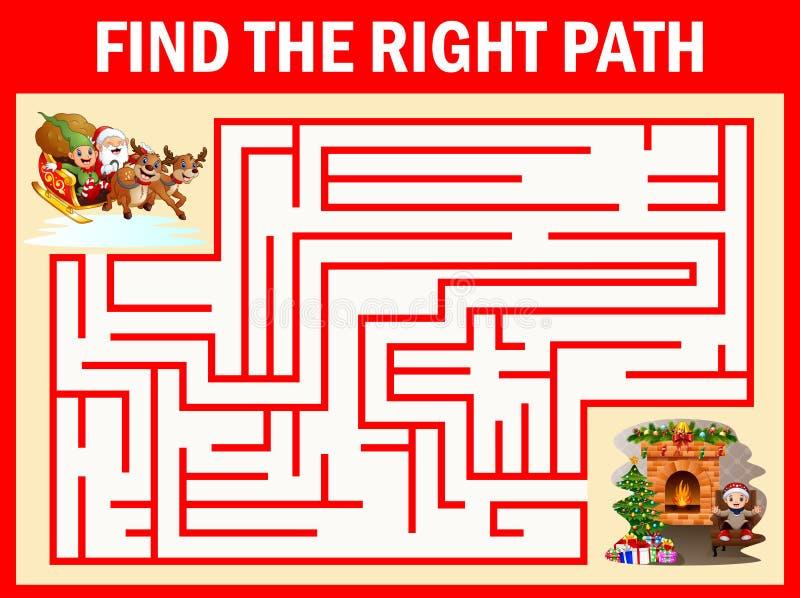 Labyrinthweihnachtsmann-Spiele finden ihre Weise zum Kamin lizenzfreie abbildung