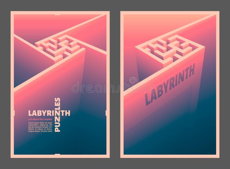 Labyrintkuben vektor illustrationer