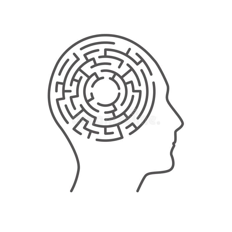 Labyrintlabyrint binnen menselijk hoofd, geheugenconcept royalty-vrije illustratie