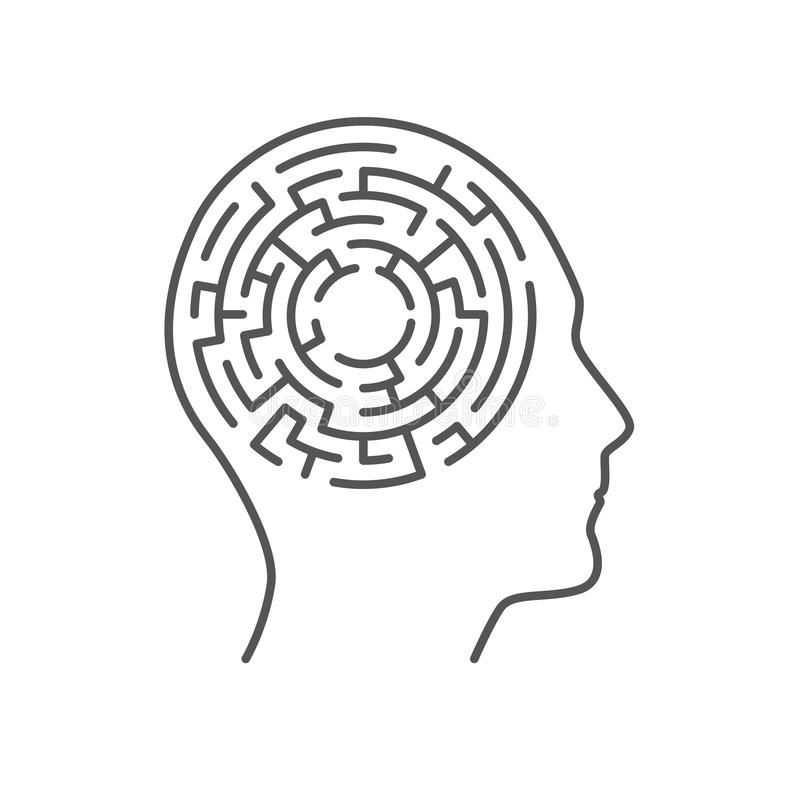 Labyrintlabyrint inom det mänskliga huvudet, minnesbegrepp royaltyfri illustrationer