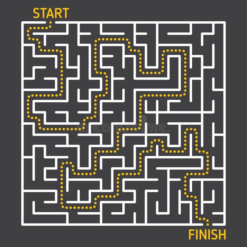 Labyrintlabyrintlek med lösningen stock illustrationer