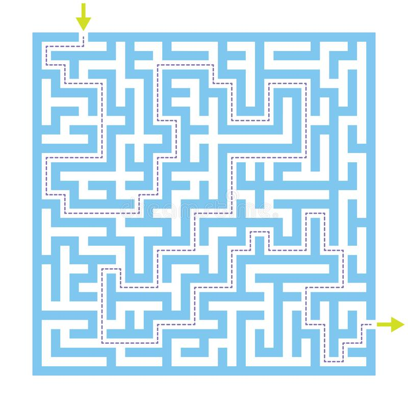 Labyrintlabyrintlek med lösningen vektor illustrationer