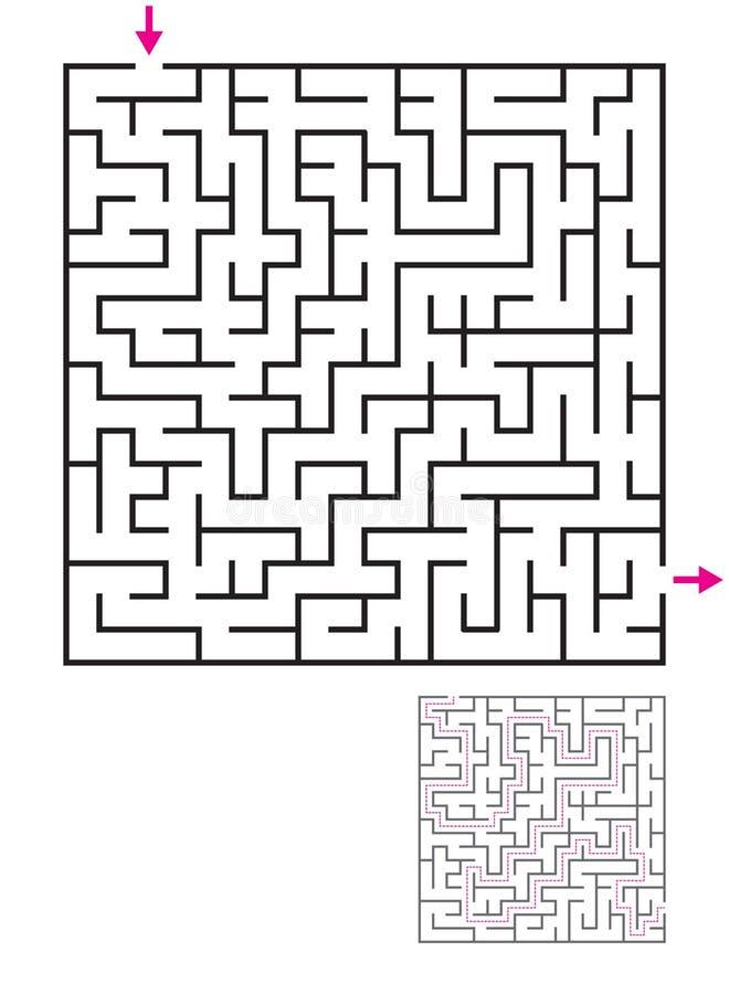 Labyrintlabyrintlek med lösningen Fyndbana royaltyfri illustrationer