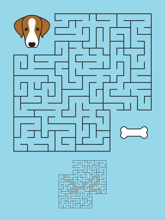 Labyrintlabyrintlek med lösningen Hjälphund royaltyfri illustrationer