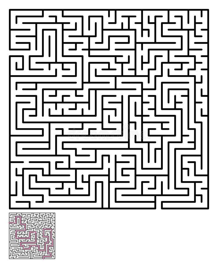 Labyrintlabyrintpussel royaltyfri illustrationer