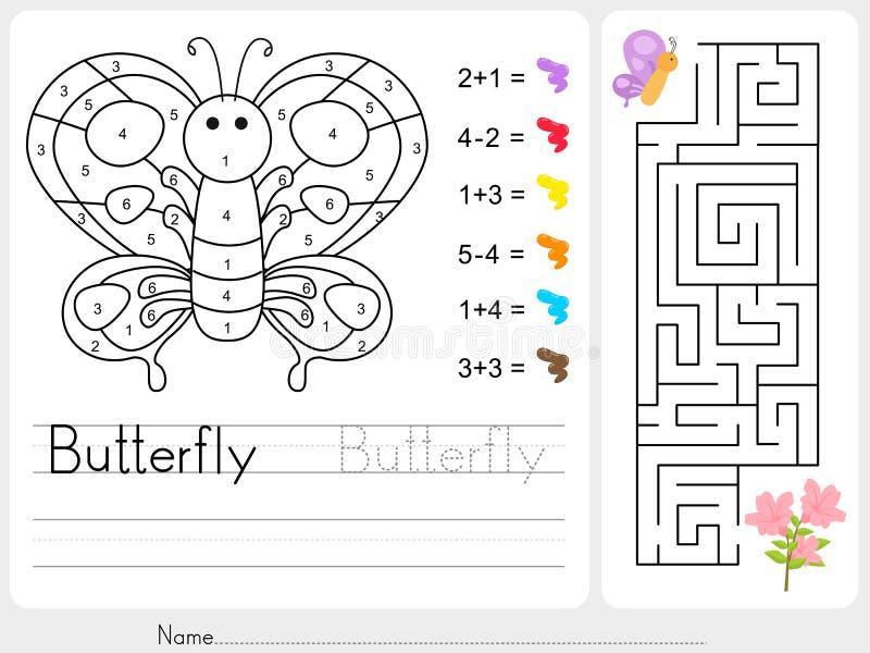 Labyrintlek, färg vid nummer - arbetssedel för utbildning royaltyfri illustrationer