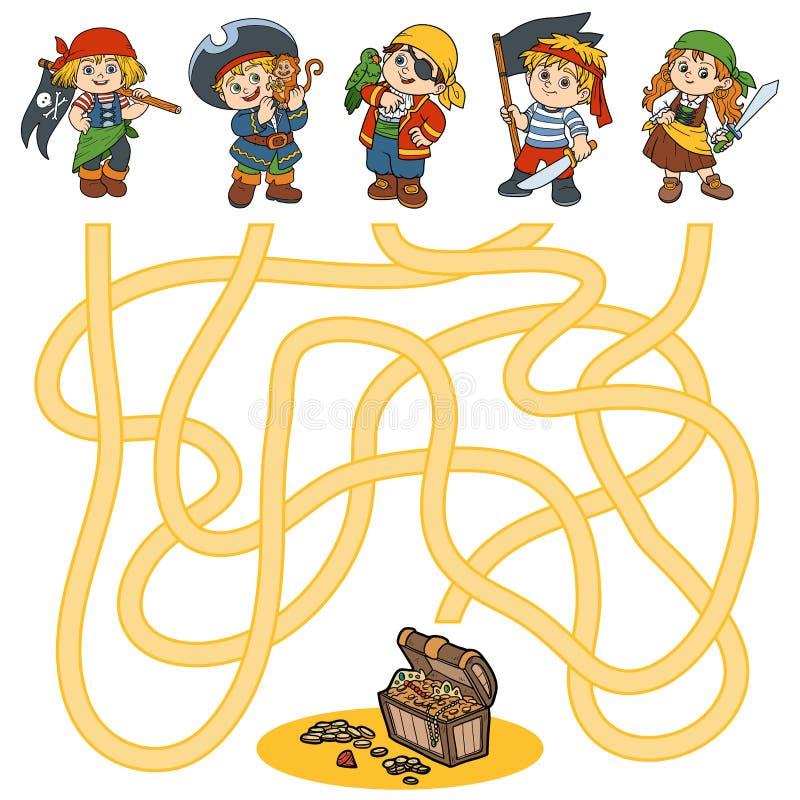 Labyrintlek för barn (tecken av piratkopierar), royaltyfri illustrationer