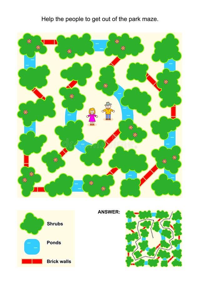 Labyrintlek för ungar med folk i parkera royaltyfri illustrationer