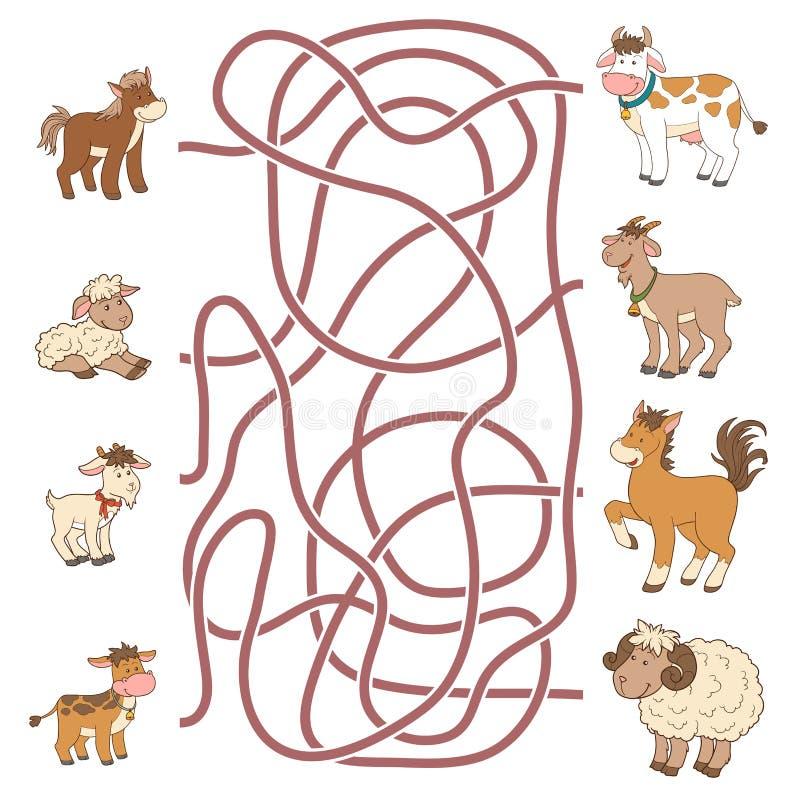 Labyrintlek: hjälp det unga fyndet deras föräldrar (lantgårddjur) royaltyfri illustrationer