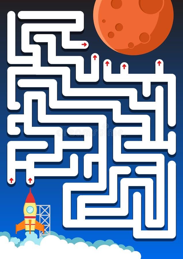 Labyrintlek: Hjälpraket finner vägen fördärvar - täcka för utbildning vektor illustrationer