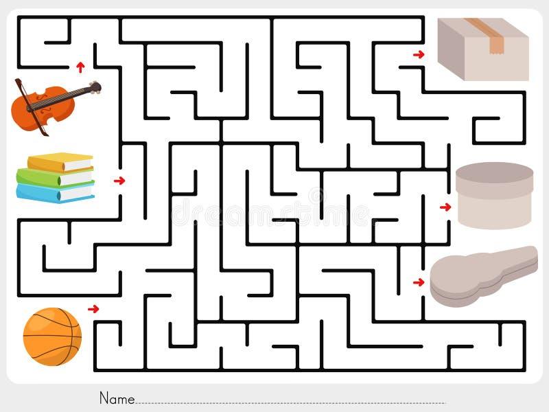 Labyrintlek: Välj fiolen, böcker och bollen för att boxas royaltyfri illustrationer