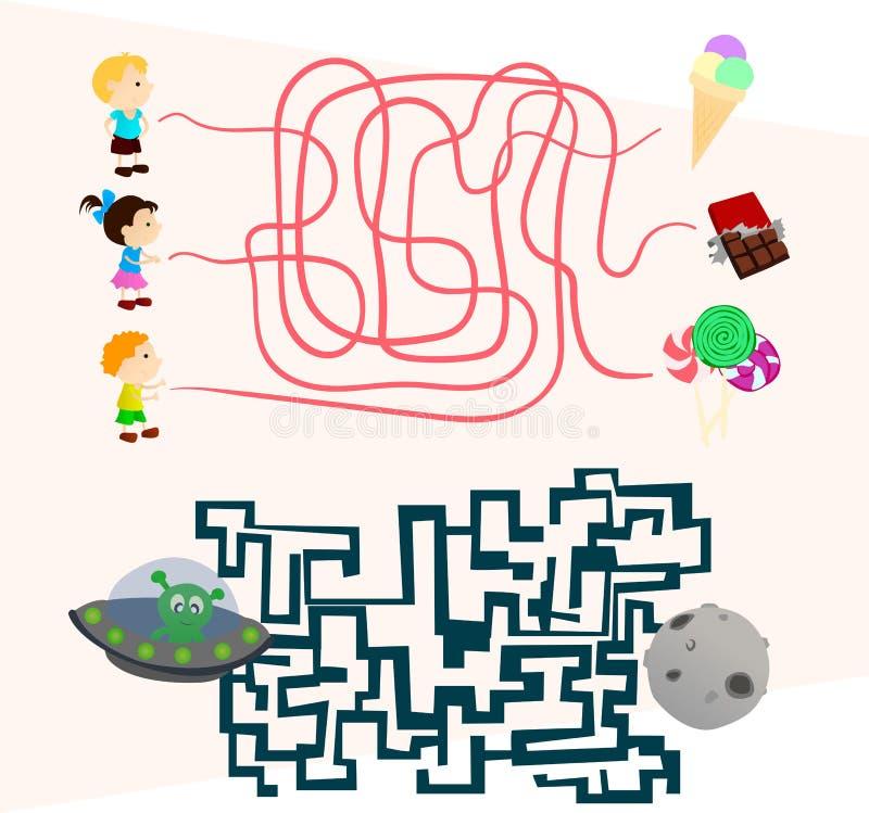 Labyrintlekar ställde in för förskolebarn finner vägen vektor illustrationer